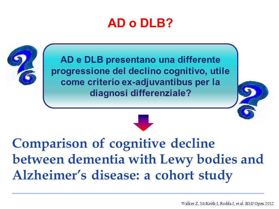 AD o DLB AD e DLB presentano una differente progressione del declino cognitivo, utile come criterio ex-adjuvantibus per la diagnosi differenziale