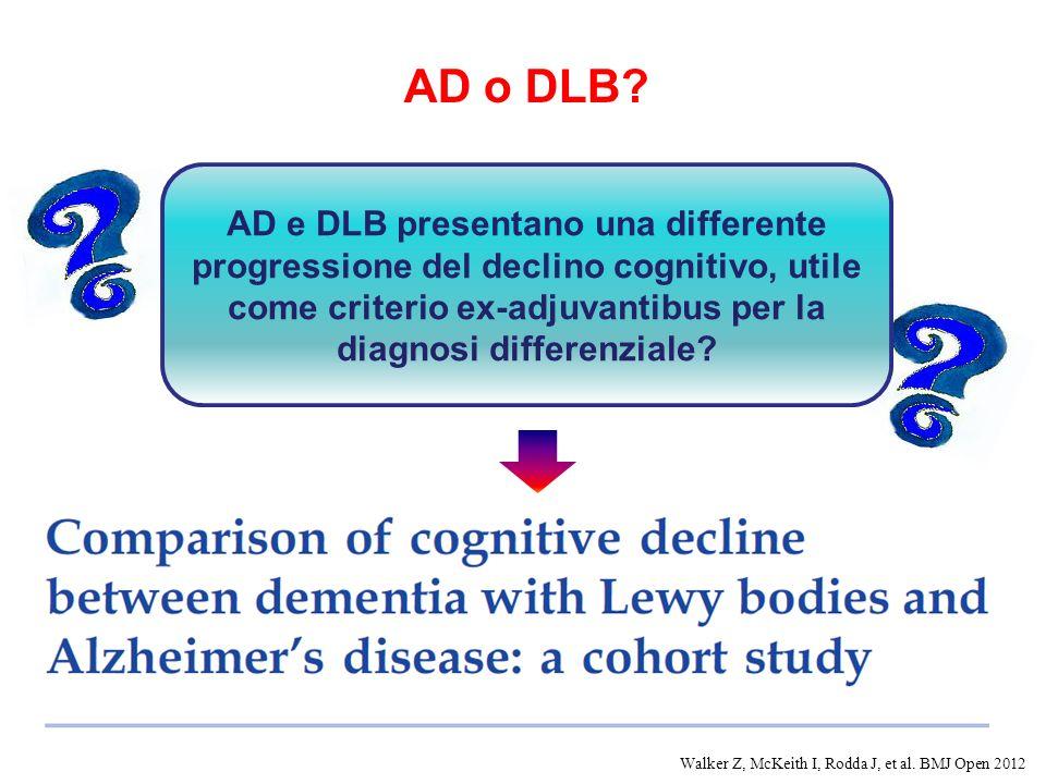 AD o DLB AD e DLB presentano una differente progressione del declino cognitivo, utile come criterio ex-adjuvantibus per la diagnosi differenziale
