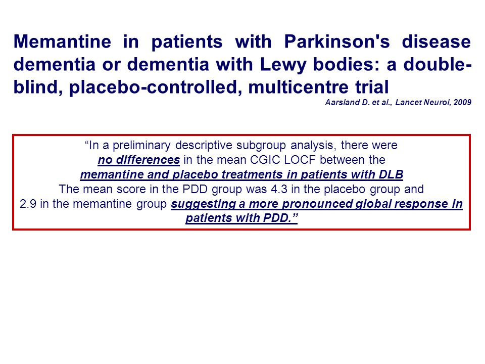 memantine and placebo treatments in patients with DLB