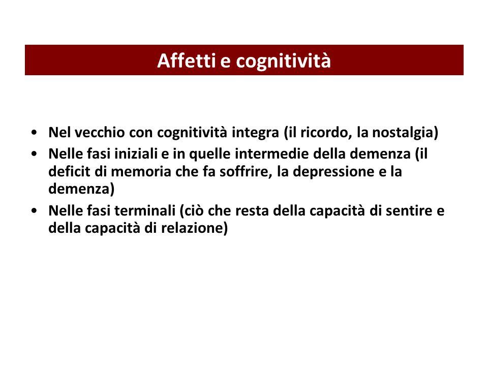Affetti e cognitivitàNel vecchio con cognitività integra (il ricordo, la nostalgia)