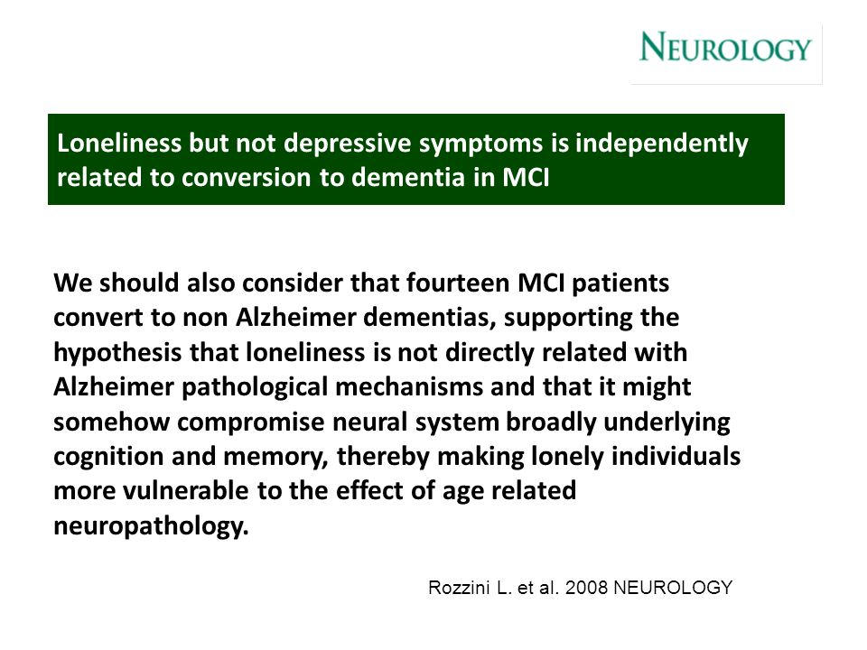 Loneliness but not depressive symptoms is independently related to conversion to dementia in MCI