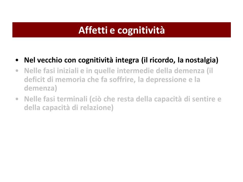 Affetti e cognitività Nel vecchio con cognitività integra (il ricordo, la nostalgia)