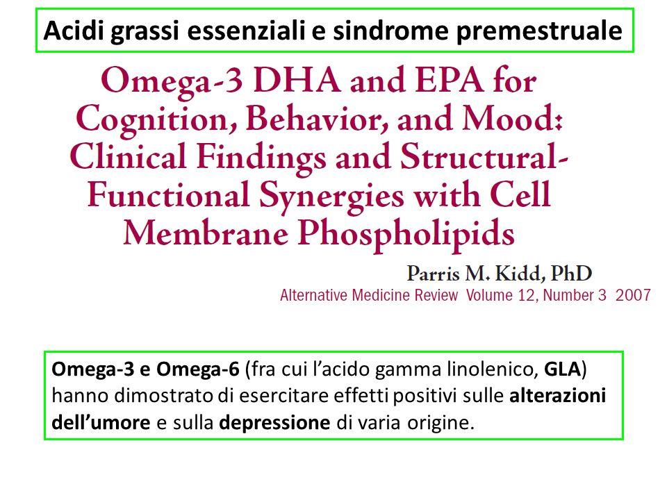 Acidi grassi essenziali e sindrome premestruale