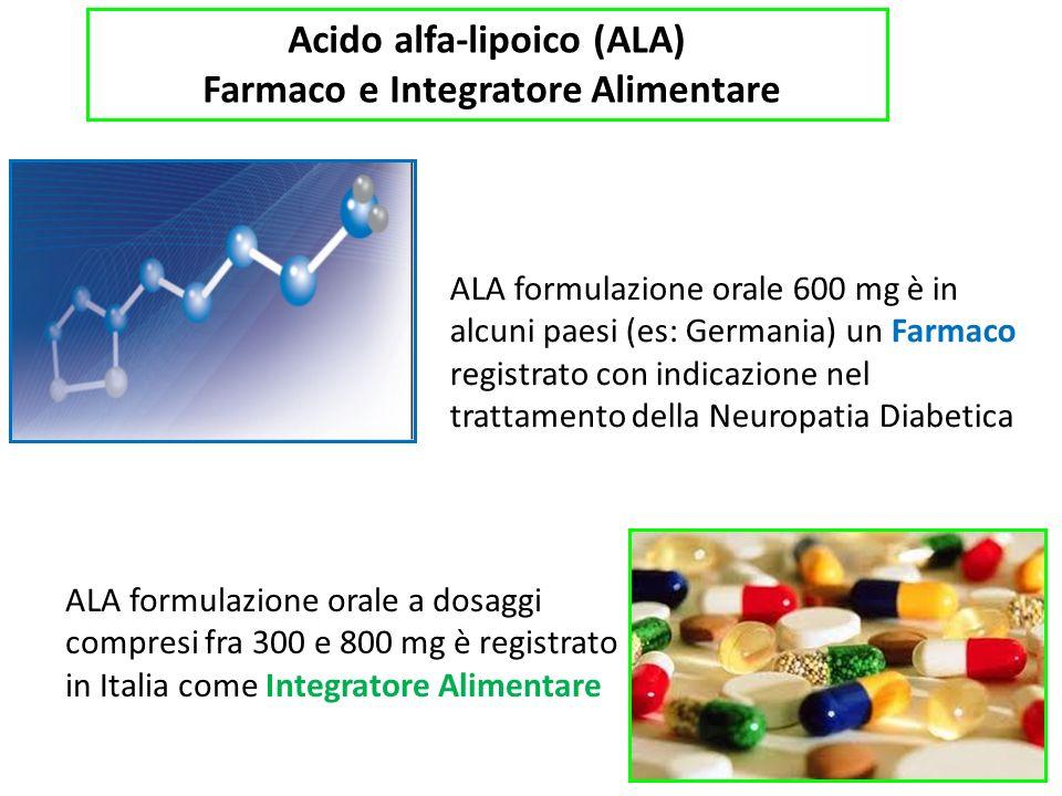 Acido alfa-lipoico (ALA) Farmaco e Integratore Alimentare