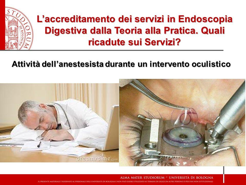 Attività dell'anestesista durante un intervento oculistico