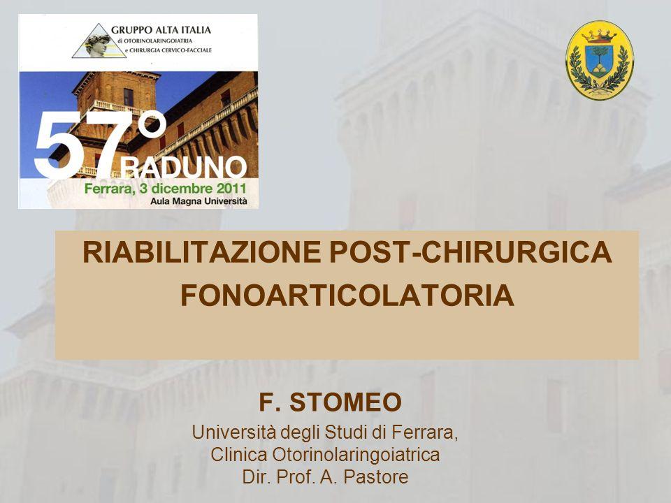 RIABILITAZIONE POST-CHIRURGICA FONOARTICOLATORIA