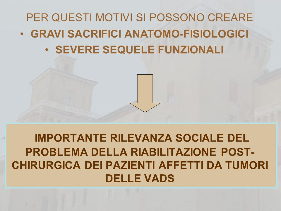 GRAVI SACRIFICI ANATOMO-FISIOLOGICI SEVERE SEQUELE FUNZIONALI