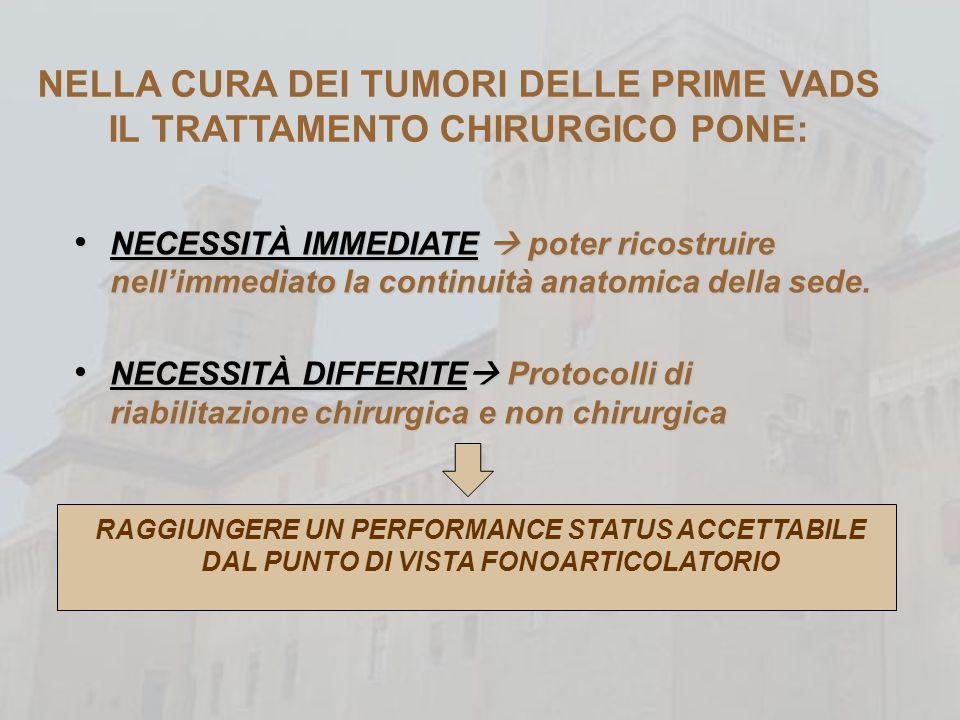 NELLA CURA DEI TUMORI DELLE PRIME VADS IL TRATTAMENTO CHIRURGICO PONE: