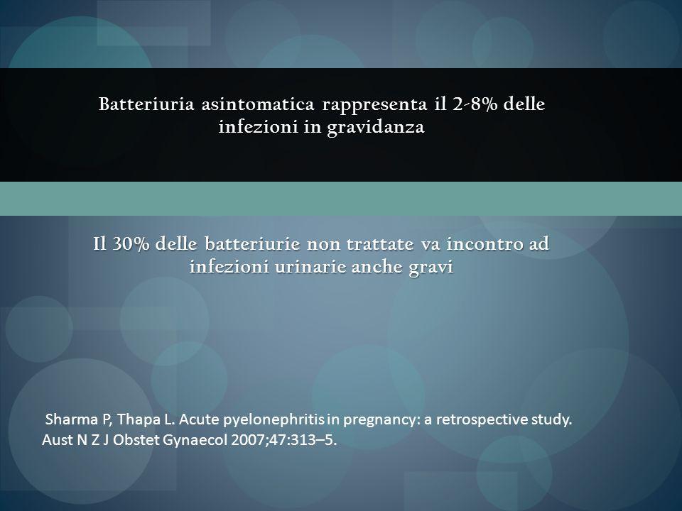 Batteriuria asintomatica rappresenta il 2-8% delle infezioni in gravidanza