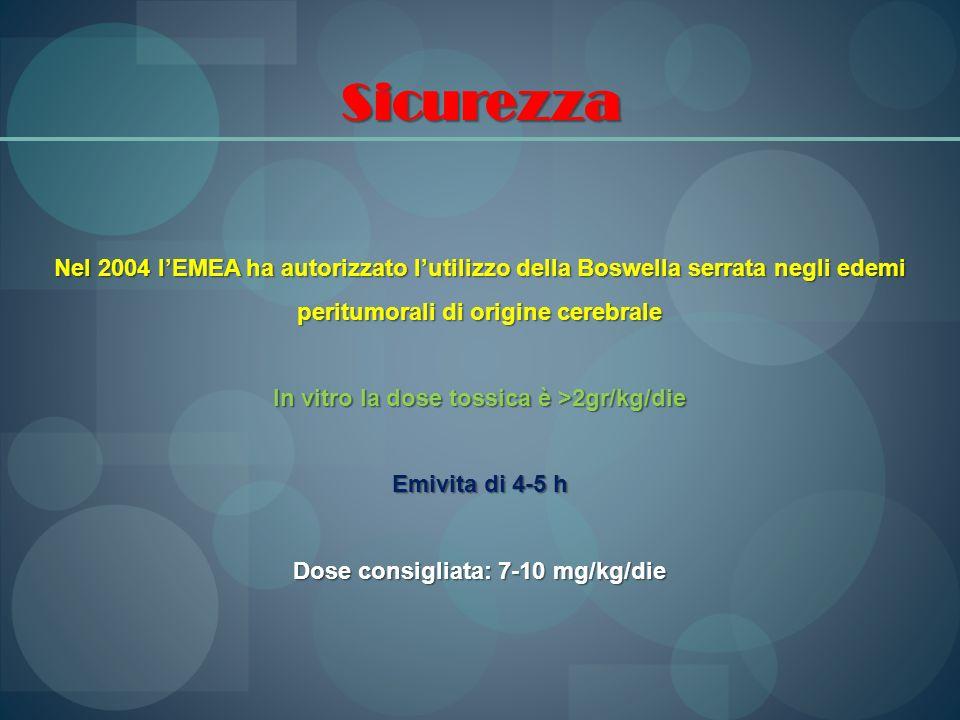 Sicurezza Nel 2004 l'EMEA ha autorizzato l'utilizzo della Boswella serrata negli edemi peritumorali di origine cerebrale.