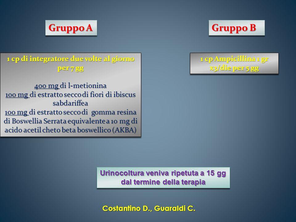 Gruppo A Gruppo B 1 cp di integratore due volte al giorno per 7 gg