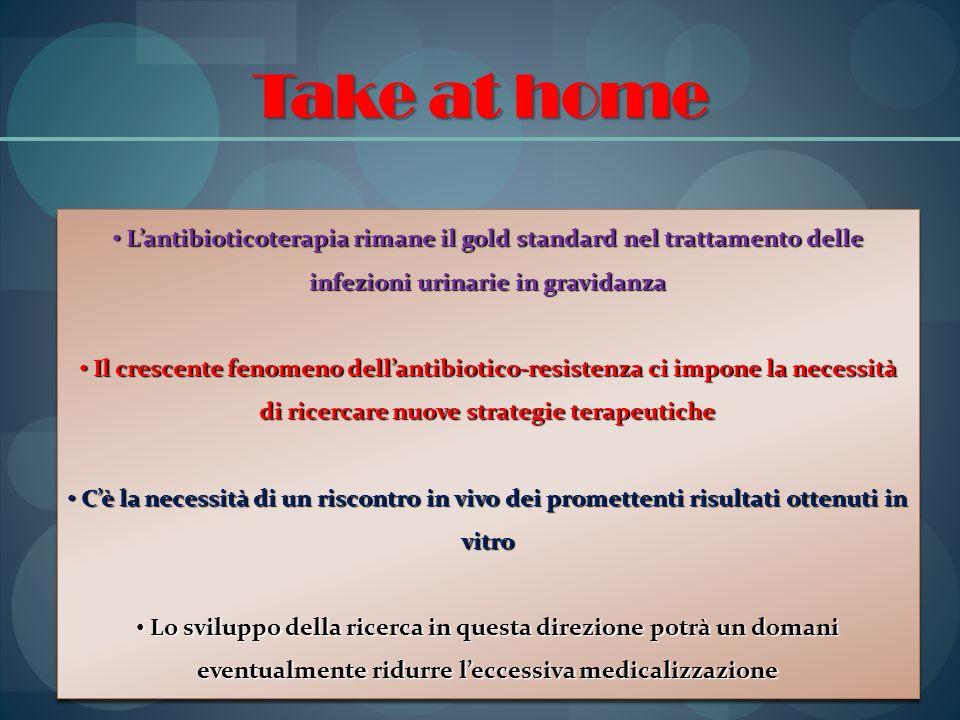 Take at home L'antibioticoterapia rimane il gold standard nel trattamento delle infezioni urinarie in gravidanza.