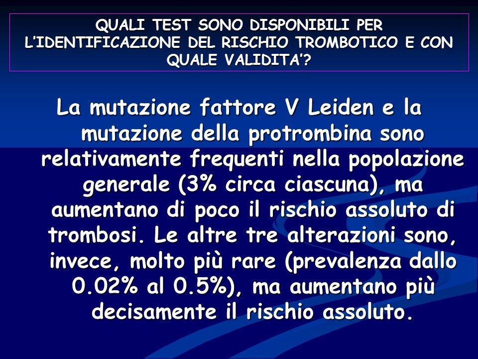 QUALI TEST SONO DISPONIBILI PER L'IDENTIFICAZIONE DEL RISCHIO TROMBOTICO E CON QUALE VALIDITA'
