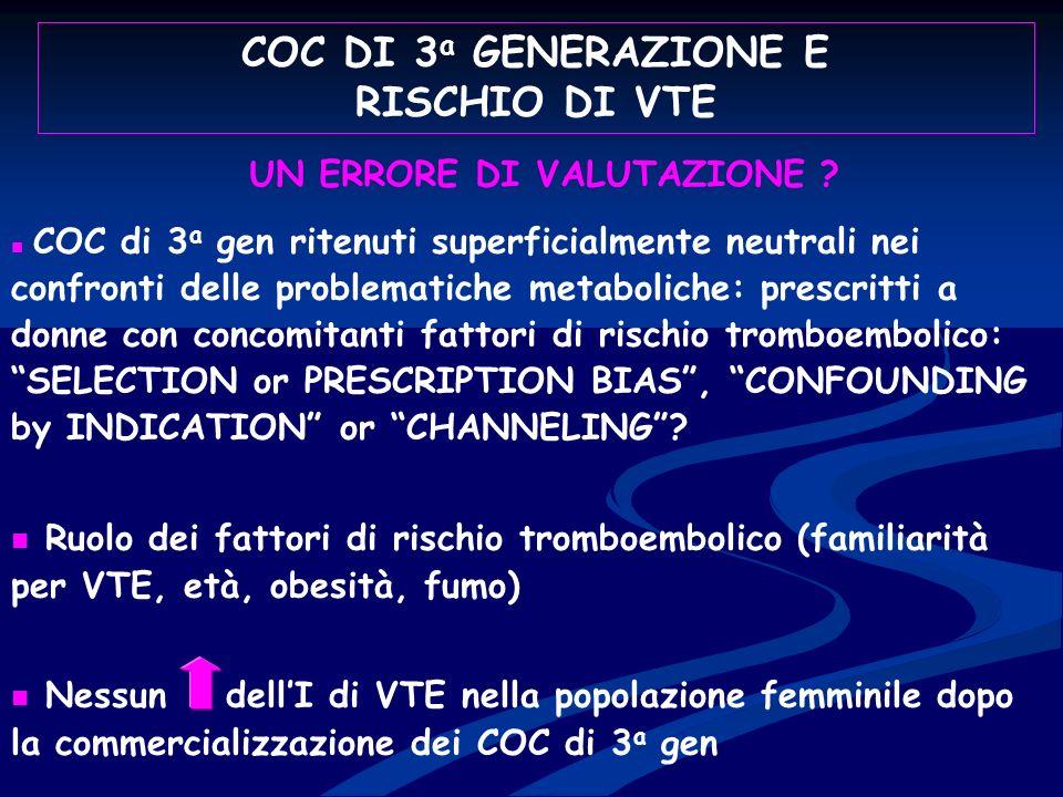 COC DI 3a GENERAZIONE E RISCHIO DI VTE