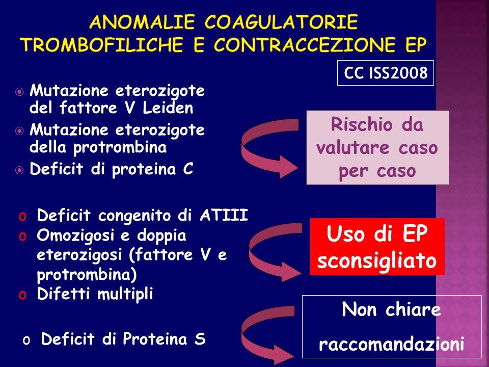 Anomalie coagulatorie trombofiliche e contraccezione EP