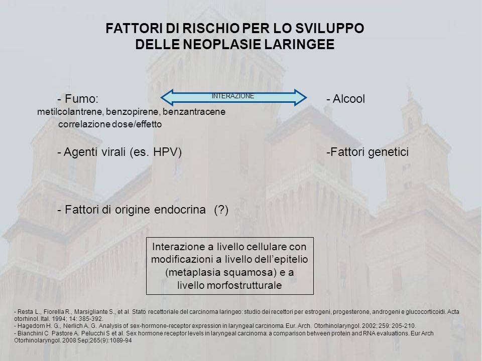FATTORI DI RISCHIO PER LO SVILUPPO DELLE NEOPLASIE LARINGEE
