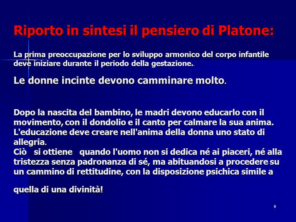 Riporto in sintesi il pensiero di Platone: La prima preoccupazione per lo sviluppo armonico del corpo infantile deve iniziare durante il periodo della gestazione..