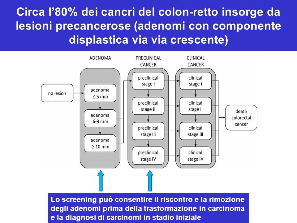 Circa l'80% dei cancri del colon-retto insorge da lesioni precancerose (adenomi con componente displastica via via crescente)