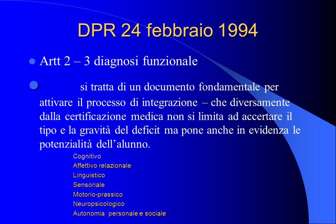 DPR 24 febbraio 1994 Artt 2 – 3 diagnosi funzionale.