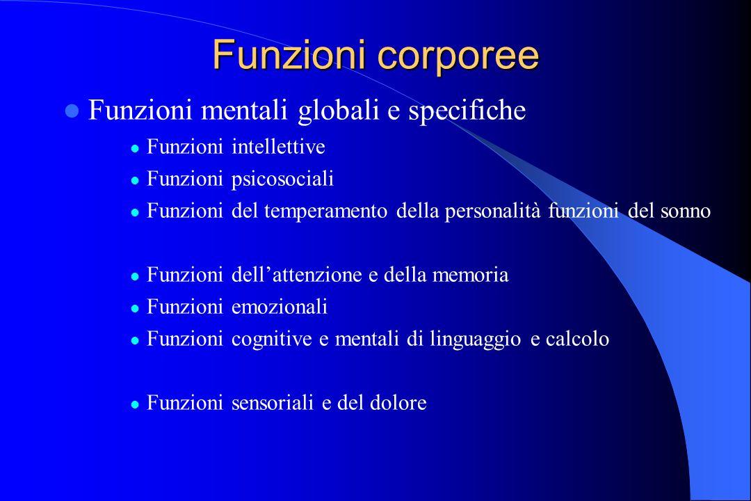 Funzioni corporee Funzioni mentali globali e specifiche