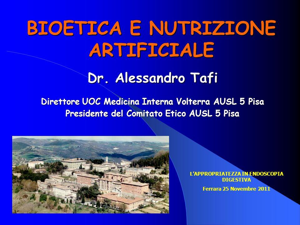 BIOETICA E NUTRIZIONE ARTIFICIALE
