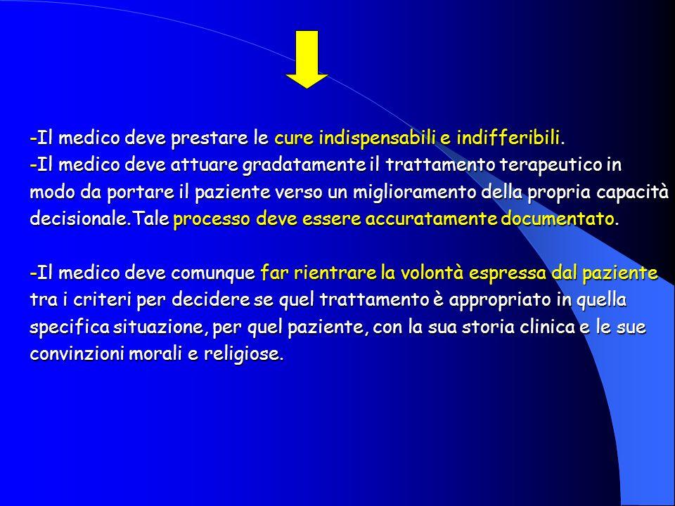 -Il medico deve prestare le cure indispensabili e indifferibili.