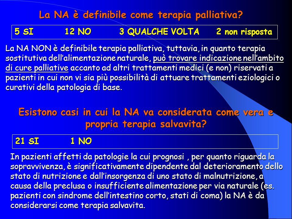 La NA è definibile come terapia palliativa