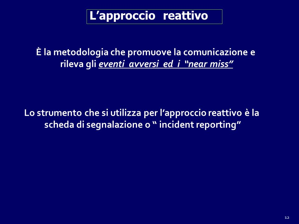 L'approccio reattivo È la metodologia che promuove la comunicazione e