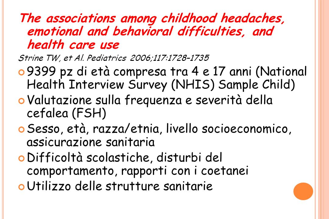 Valutazione sulla frequenza e severità della cefalea (FSH)
