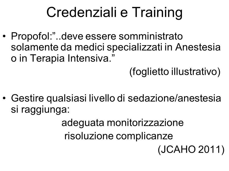 Credenziali e Training
