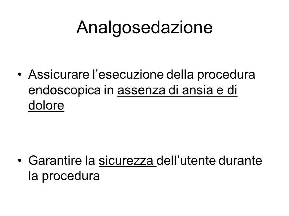 Analgosedazione Assicurare l'esecuzione della procedura endoscopica in assenza di ansia e di dolore.