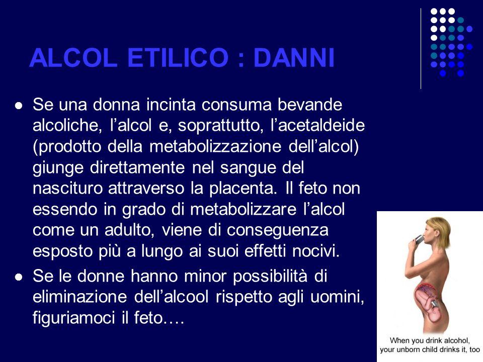 ALCOL ETILICO : DANNI
