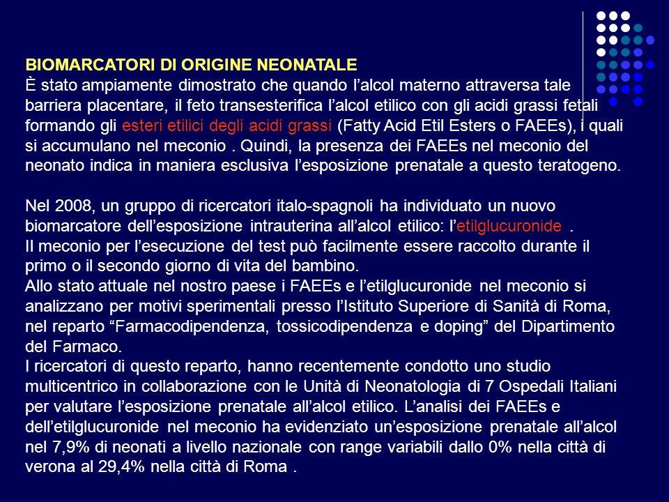 BIOMARCATORI DI ORIGINE NEONATALE