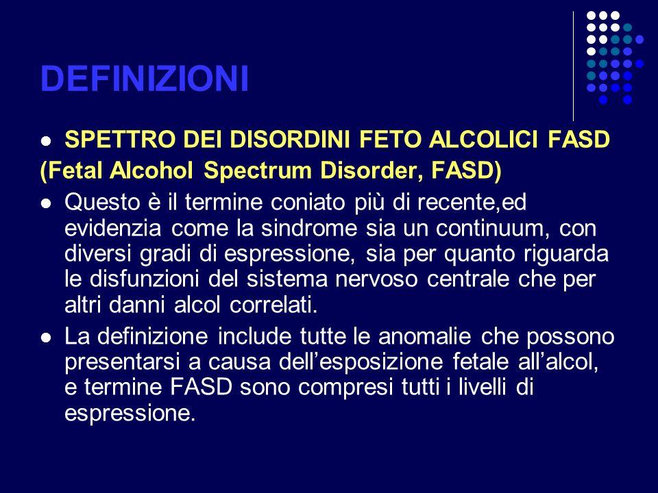 DEFINIZIONI SPETTRO DEI DISORDINI FETO ALCOLICI FASD