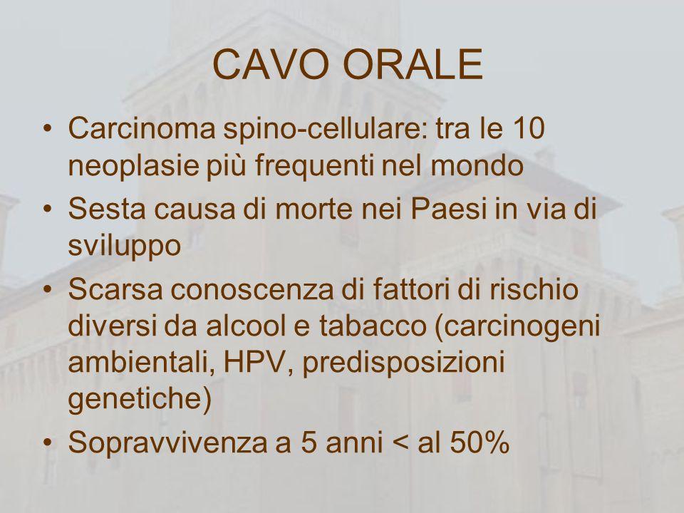 CAVO ORALE Carcinoma spino-cellulare: tra le 10 neoplasie più frequenti nel mondo. Sesta causa di morte nei Paesi in via di sviluppo.