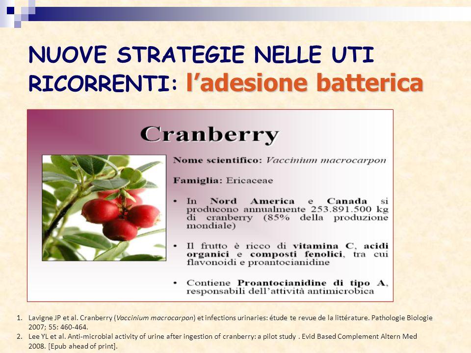 NUOVE STRATEGIE NELLE UTI RICORRENTI: l'adesione batterica