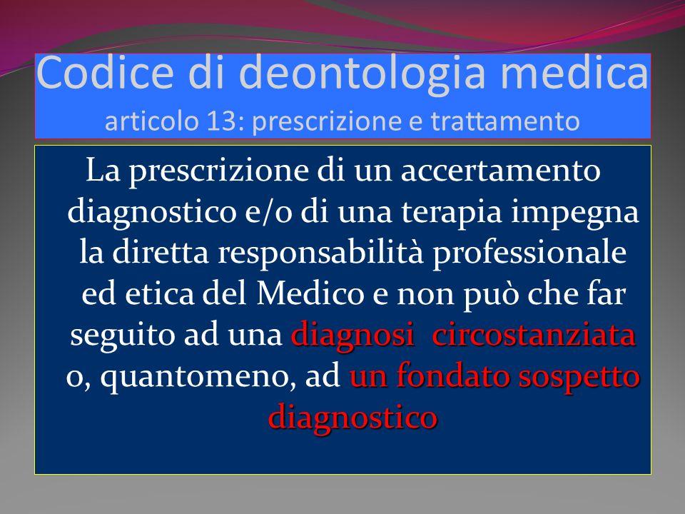 Codice di deontologia medica articolo 13: prescrizione e trattamento