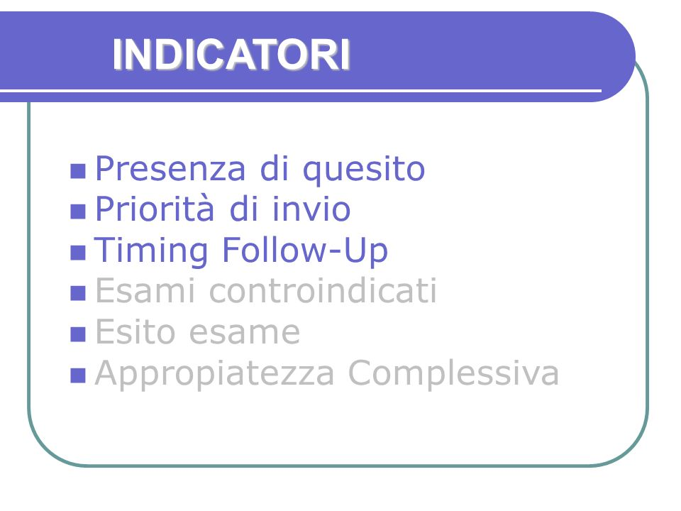 INDICATORI Presenza di quesito Priorità di invio Timing Follow-Up