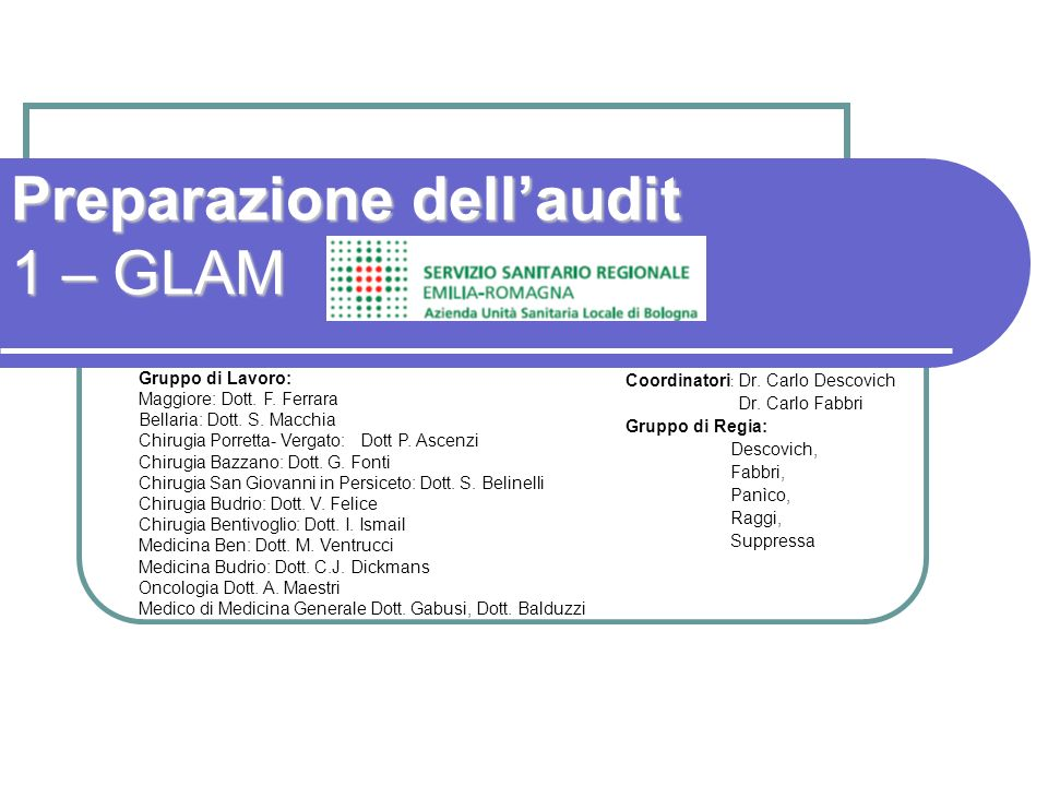 Preparazione dell'audit 1 – GLAM
