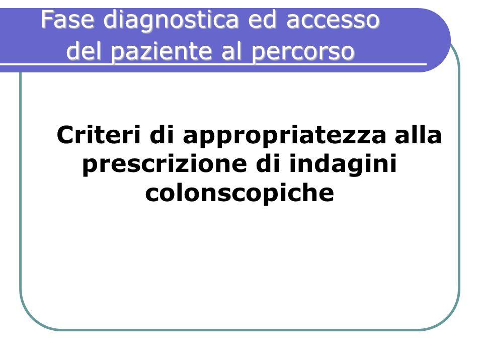 Fase diagnostica ed accesso del paziente al percorso