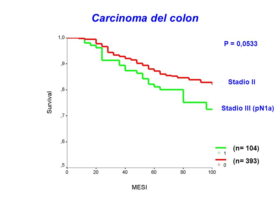 Carcinoma del colon P = 0,0533 Stadio II Stadio III (pN1a) (n= 104)