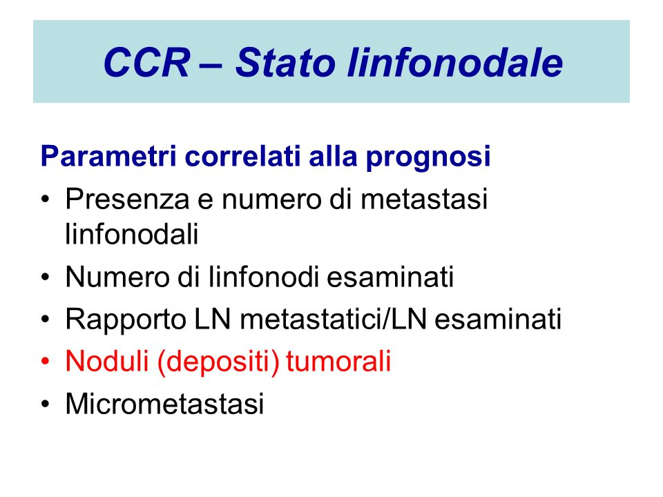 CCR – Stato linfonodale