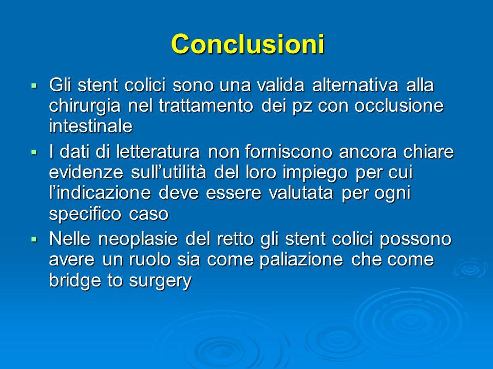 ConclusioniGli stent colici sono una valida alternativa alla chirurgia nel trattamento dei pz con occlusione intestinale.
