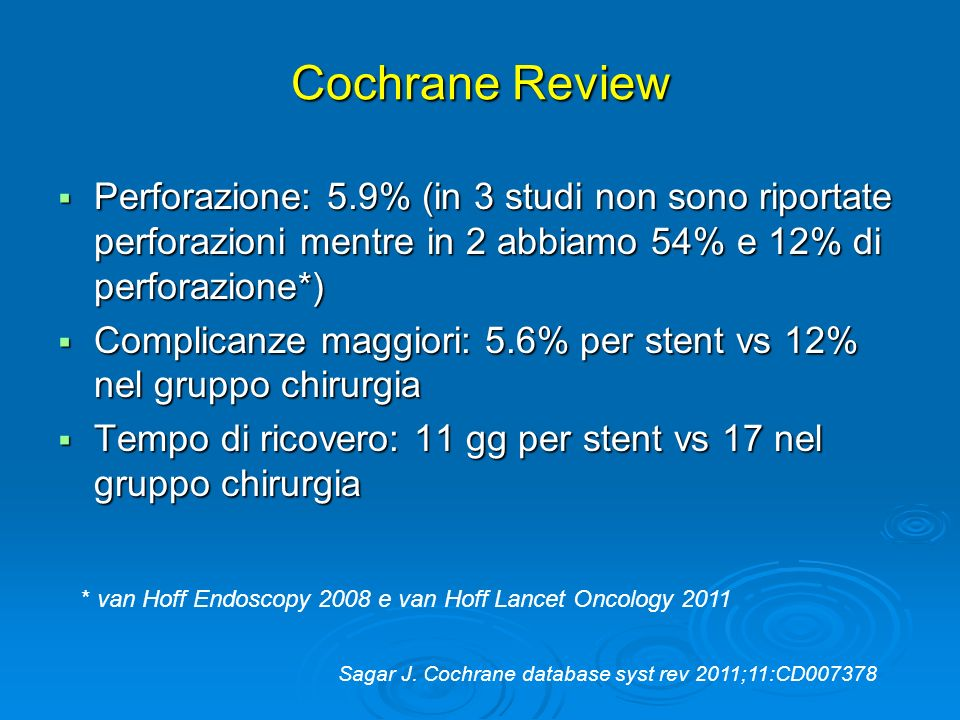 Cochrane Review Perforazione: 5.9% (in 3 studi non sono riportate perforazioni mentre in 2 abbiamo 54% e 12% di perforazione*)
