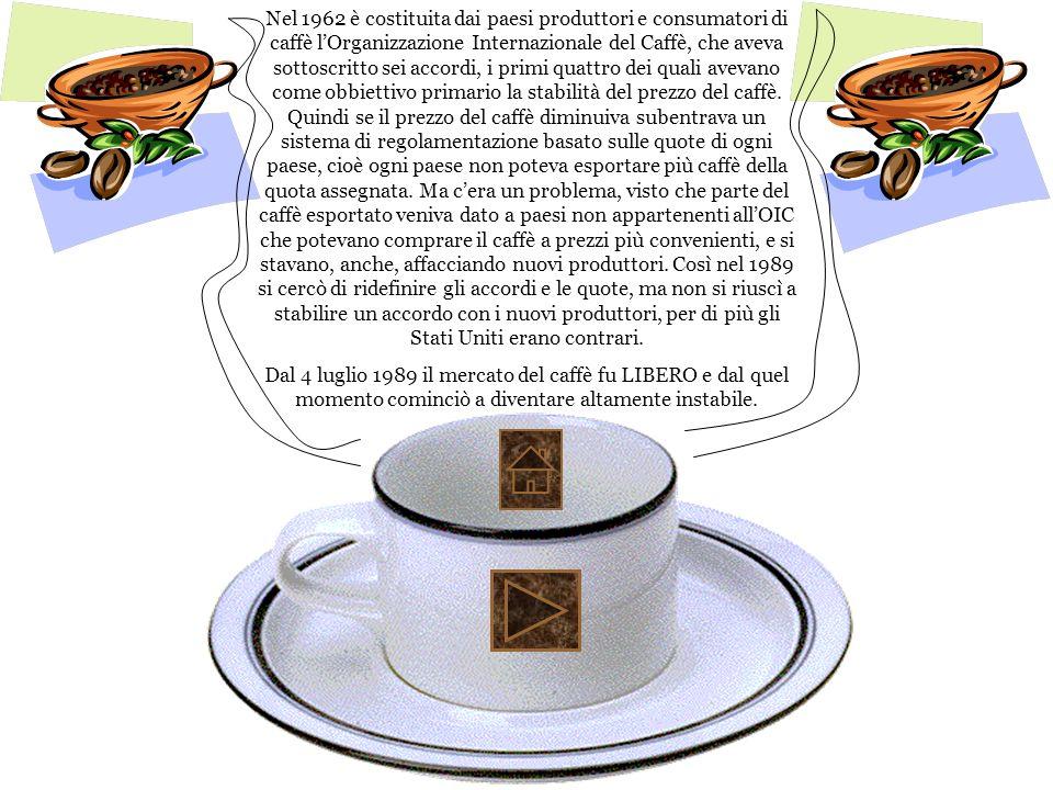 Nel 1962 è costituita dai paesi produttori e consumatori di caffè l'Organizzazione Internazionale del Caffè, che aveva sottoscritto sei accordi, i primi quattro dei quali avevano come obbiettivo primario la stabilità del prezzo del caffè. Quindi se il prezzo del caffè diminuiva subentrava un sistema di regolamentazione basato sulle quote di ogni paese, cioè ogni paese non poteva esportare più caffè della quota assegnata. Ma c'era un problema, visto che parte del caffè esportato veniva dato a paesi non appartenenti all'OIC che potevano comprare il caffè a prezzi più convenienti, e si stavano, anche, affacciando nuovi produttori. Così nel 1989 si cercò di ridefinire gli accordi e le quote, ma non si riuscì a stabilire un accordo con i nuovi produttori, per di più gli Stati Uniti erano contrari.