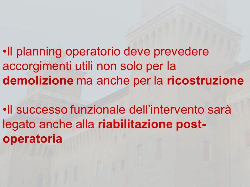 Il planning operatorio deve prevedere accorgimenti utili non solo per la demolizione ma anche per la ricostruzione
