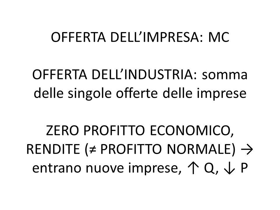 OFFERTA DELL'IMPRESA: MC OFFERTA DELL'INDUSTRIA: somma delle singole offerte delle imprese ZERO PROFITTO ECONOMICO, RENDITE (≠ PROFITTO NORMALE) → entrano nuove imprese, ↑ Q, ↓ P