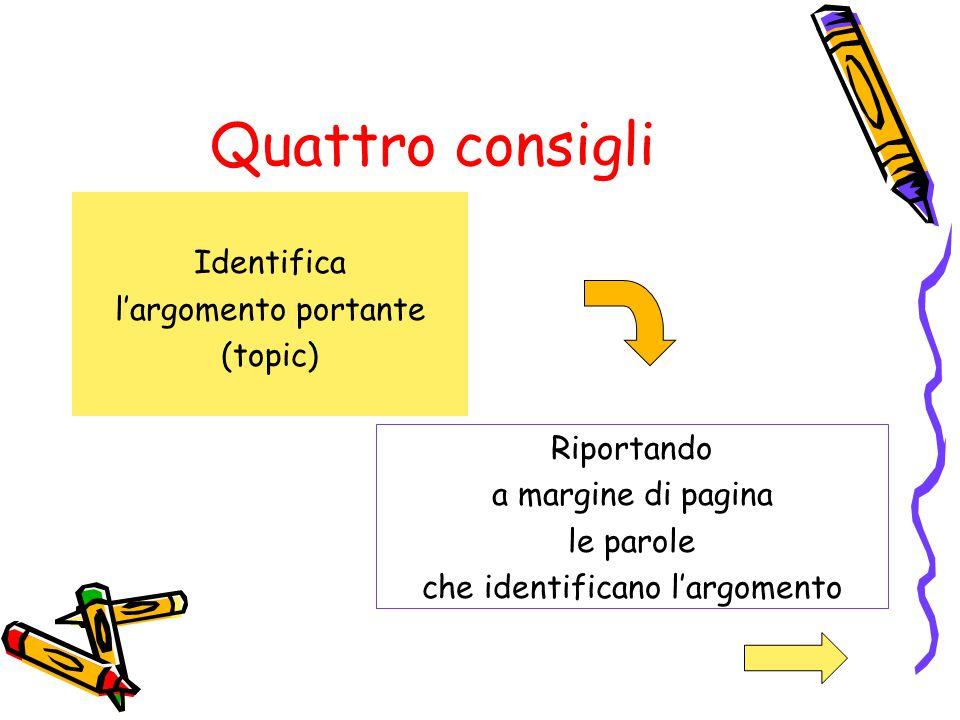 Quattro consigli Identifica l'argomento portante (topic)