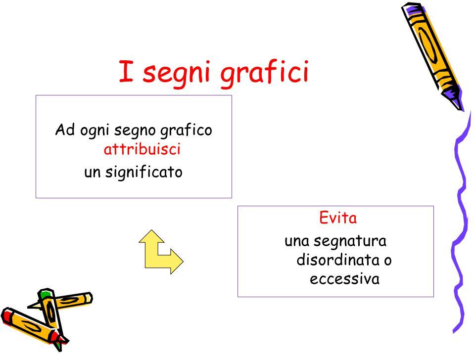 I segni grafici Ad ogni segno grafico attribuisci un significato