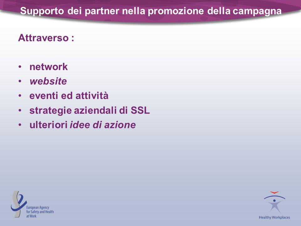 Supporto dei partner nella promozione della campagna